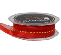 20mm SHEER W/METALLIC STITCH-Red/Gold