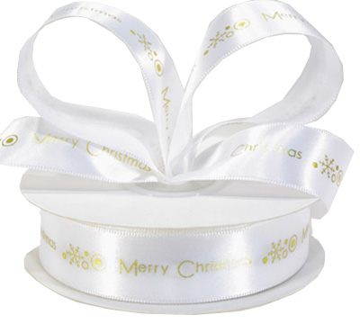 22mm MERRY CHRISTMAS PRINT-White/Gold
