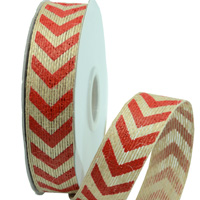 25mm PRINTED CHEVRON ON JUTE-Natural/Red
