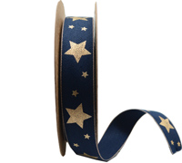 25mm WOVEN METALLIC STAR -Navy/Gold