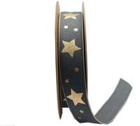 25mm WOVEN METALLIC STAR -Slate/Gold