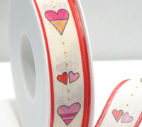 25mm NATURAL HEARTS-Pink/Red
