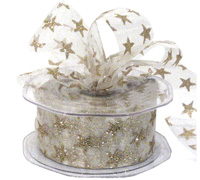 38mm C/E GLITTER STARS-White/Gold