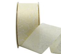 38mm PRINTED FLOWER WEAVE-Cream/White