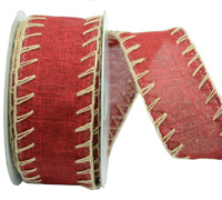 38mm W/E BLANKET STITCH-Deep Red/Natural