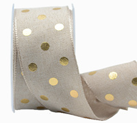 38mm W/E METALLIC POLKA DOT-Natural/Gold