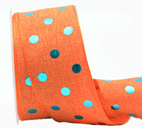 38mm W/E METALLIC POLKA DOT-Orange/Met Blue
