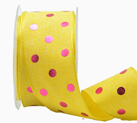 38mm W/E METALLIC POLKA DOT-Yellow/Hot Pink
