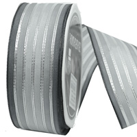 38mm W/E SHEER w/METALLIC STRIP-Silver/Grey