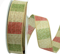 R38mm W/E STRIPED LINEN-Natural/Red/Green