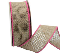 50mm COLOURED EDGE JUTE-Hot Pink