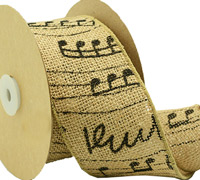70mm MUSIC NOTES on JUTE-Natural/Black