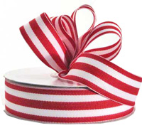 25mm GROSGRAIN STRIPE-Red/White