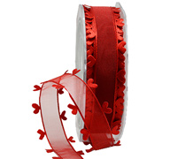 25mm HEART EDGE ORGANZA-Red