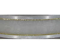 SATIN SHEER w/THREAD-White/Gold