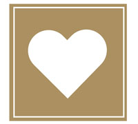 STICKER SEAL HEART-Gold Square