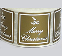 30mm SQUARE M'XMAS SEAL-Gold