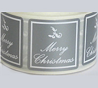 30mm SQUARE M'XMAS SEAL-Silver