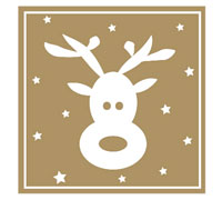 STICKER SEAL REINDEER-Gold Square
