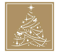 STICKER SEAL XMAS TREE-Gold Square