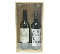 TIMBER DOUBLE WINE BOX with clear lid