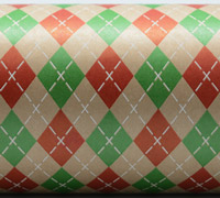 ARGYLE PATTERN WRAP- Scarlet/Emerald/White On Kraft