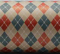ARGYLE PATTERN WRAP - Scarlet/WNavy/White On Kraft