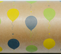 BALLOON FIESTA WRAP-Lime Washed Navy Yellow on Kraft