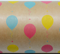BALLOON FIESTA WRAP-Pink Blue Yellow on brown kraft
