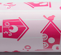 50cm BIRDOUSE GIFTWRAP-Pale Pink/Hot Pink