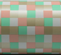 CHECK WEAVE WRAP- Mint Peach Stone Gray
