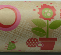 FLOWER POT WRAP-Scarlet Pink on Kraft