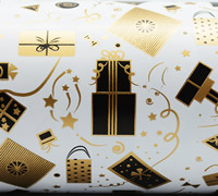 GIFTS WRAP- Black/Gold On White