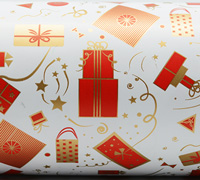 GIFTS WRAP- Scarlet/Gold On White