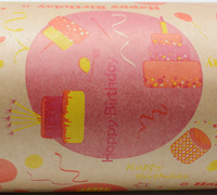HAPPY BIRTHDAY WRAP- Hot Pink/Yellow/Orange on Kraft