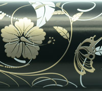 HIBISCUS FLOURISH WRAP-Black White Gold