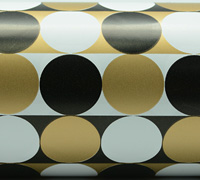 MULTI CIRCLE WRAP- Black/Gold On White