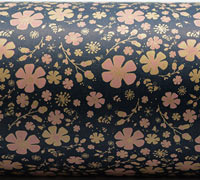 PRETTY BLOOMS WRAP-Navy/Pale Pink  On Brown Kraft