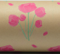 TULIP WATERCOLOUR WRAP -HPI/Green On Kraft