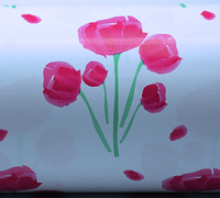50cm TULIP WATERCOLOUR WRAP-Hot Pink/ Green On White