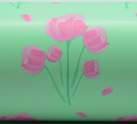 50cm TULIP WATERCOLOUR WRAP-Mint/Ppink/Green On White
