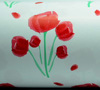 50cm TULIP WATERCOLOUR WRAP-Scarlet/Green On White