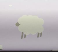 50cm WOOLLY SHEEP WRAP-Lilac/Grey On White Kraft
