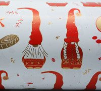 NORDIC GNOMES WRAP- Gold/Scarlet On White